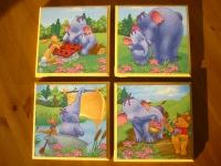 Setje kinderpaneeltjes : MDF paneeltjes bekleed met servet Winnie de Poeh en vriendjes